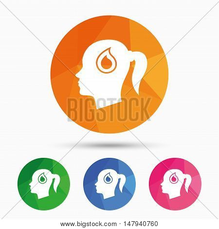 Head with blood drop sign icon. Female woman human head symbol. Triangular low poly button with flat icon. Vector