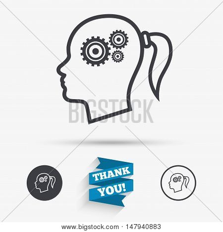 Head with gears sign icon. Female woman human head think symbol. Flat icons. Buttons with icons. Thank you ribbon. Vector