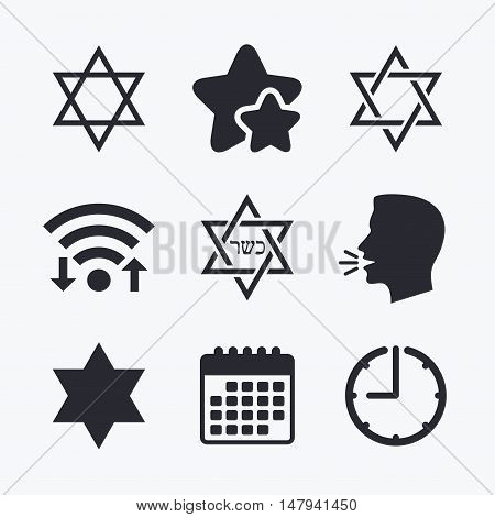 Star of David sign icons. Symbol of Israel. Wifi internet, favorite stars, calendar and clock. Talking head. Vector