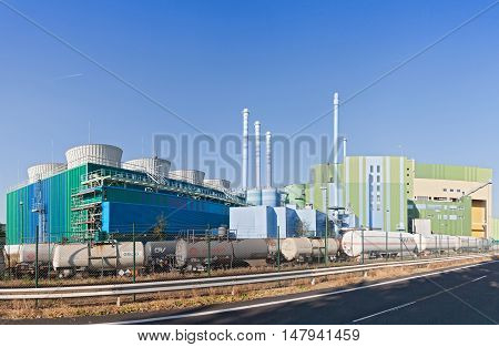 FRANKFURT, GERMANY-SEPTEMBER 13, 2016: Industrial waste incinerator in an industrial park Frankfurt-Hoechst
