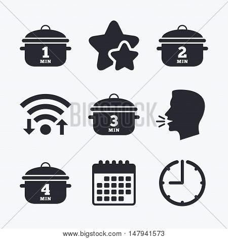 Cooking pan icons. Boil 1, 2, 3 and 4 minutes signs. Stew food symbol. Wifi internet, favorite stars, calendar and clock. Talking head. Vector