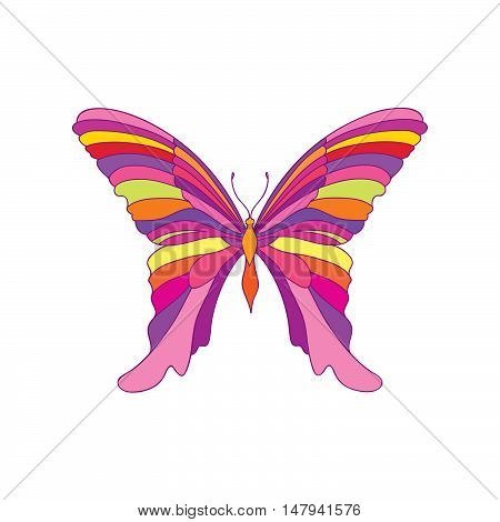 Butterfly isolated over white background. Fantastic tropical insect Hawaiian nature design element in 1960's pop art style