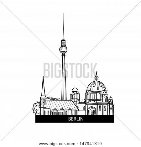 Berlin label. Travel german city sign. Germany architectural famous landmarks