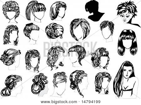 illustration with twenty two woman hairstyles