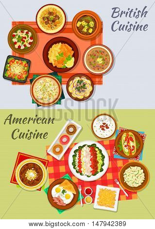 American and british cuisine dishes icon with fast food hot dog, fries, fish and chips, donut, fried egg with bacon, vegetable salads, irish stew, kidney and chowder soups, baked beans and lamb