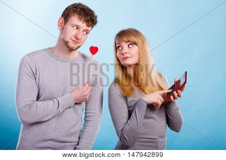 Woman Making Calculation Of Relationship.