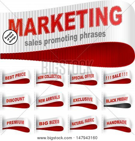 Clothes labels tags with marketing words and phrases for garments sales promotion and merchant service; Best price Discount Sale Special offer Handmade Black friday; Red white vector set Eps10
