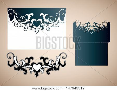 Openwork wedding envelope in the Victorian style. Laser cutting template for wedding envelopes and invitations.