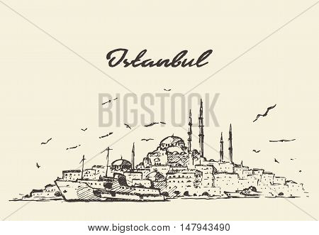Istanbul detailed skyline Turkey vintage engraved illustration hand drawn, sketch