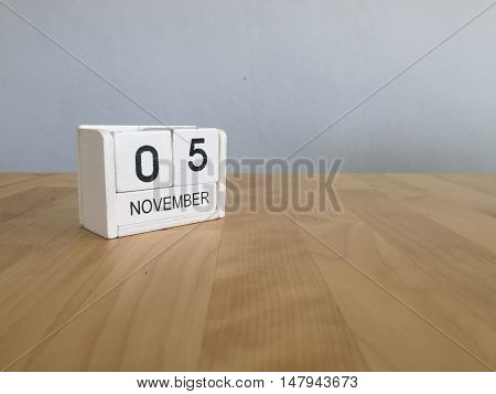 November 5Th. November 5 White Wooden Calendar On Vintage Wood Abstract Background.autumn Day.copysp