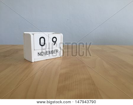 November 9Th. November 9 White Wooden Calendar On Vintage Wood Abstract Background.autumn Day.copysp