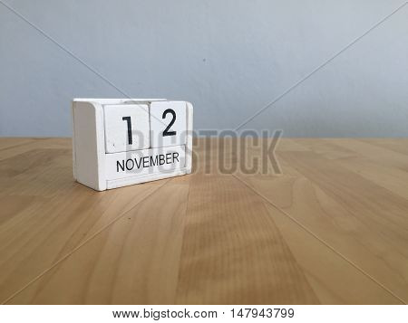 November 12Th. November 12 White Wooden Calendar On Vintage Wood Abstract Background.autumn Day.copy