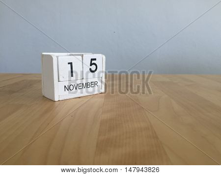November 15Th. November 15 White Wooden Calendar On Vintage Wood Abstract Background.autumn Day.copy