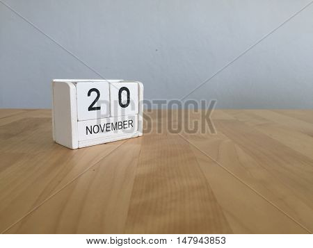 November 20Th. November 20 White Wooden Calendar On Vintage Wood Abstract Background.autumn Day.copy