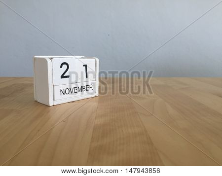 November 21St. November 21 White Wooden Calendar On Vintage Wood Abstract Background.autumn Day.copy