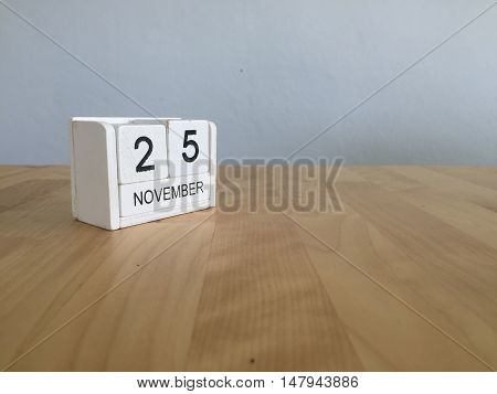 November 25Th. November 25 White Wooden Calendar On Vintage Wood Abstract Background.autumn Day.copy