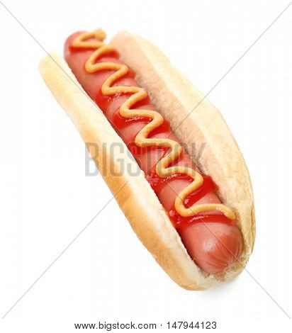 Hot Dog with mustard and ketchup, isolated on white