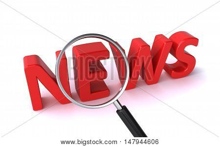 search for news concept on the white background (3d rendering)