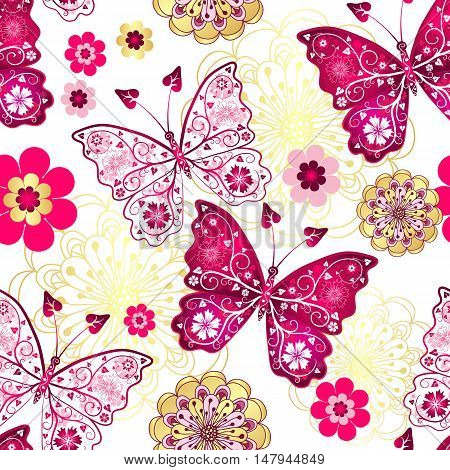 Seamless pattern with vintage butterflies and gold-purple flowers vector
