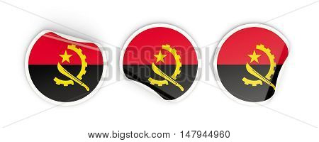 Flag Of Angola, Round Labels