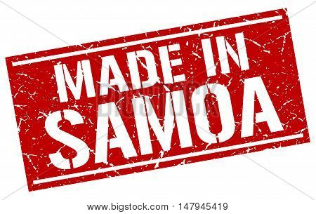 made in Samoa. Stamp. Square grunge sign