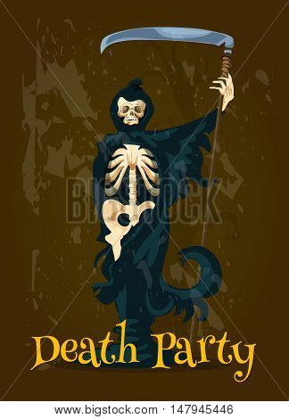 Halloween Death Party banner. Vector character of skeleton skull in black robe with scythe. Decoration design template for Halloween poster, invitation, greeting card