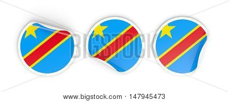 Flag Of Democratic Republic Of The Congo, Round Labels