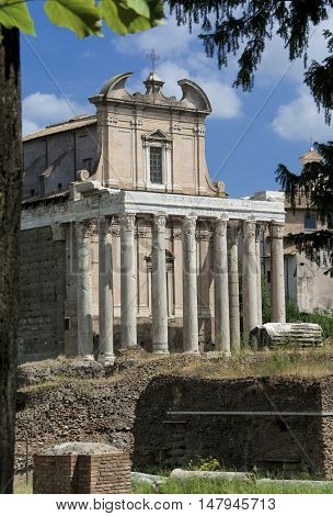 Ancient Temple of emperor Antoninus and Faustina in Roman Forum turned into a baroque church