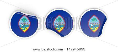 Flag Of Guam, Round Labels