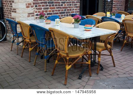 Tables in the traditional provincial Belgian restaurant.