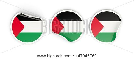 Flag Of Palestinian Territory, Round Labels