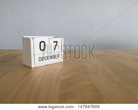 December 7Th.december 7 White Wooden Calendar On Vintage Wood Abstract Background. New Year At Work