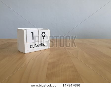 December 19Th.december 19 White Wooden Calendar On Vintage Wood Abstract Background. New Year At Wor