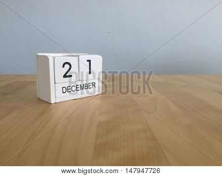 December 21St.december 21 White Wooden Calendar On Vintage Wood Abstract Background. New Year At Wor