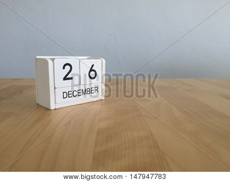 December 26Th.december 26 White Wooden Calendar On Vintage Wood Abstract Background. New Year At Wor