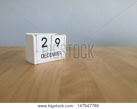 December 29Th.december 29 White Wooden Calendar On Vintage Wood Abstract Background. New Year At Wor
