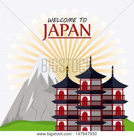 tower building and mountain icon. Japan culture landmark and asia theme. Colorful design. Vector illustration