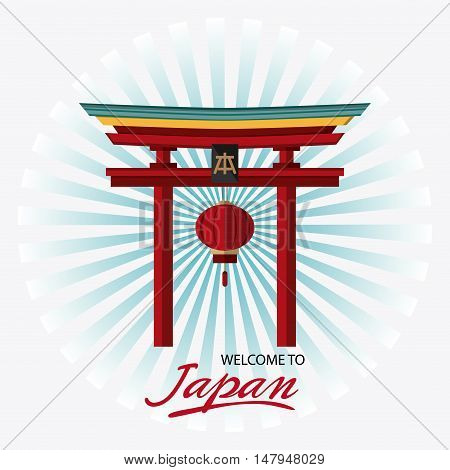 Arch and lamp icon. Japan culture landmark and asia theme. Colorful design. Striped background. Vector illustration