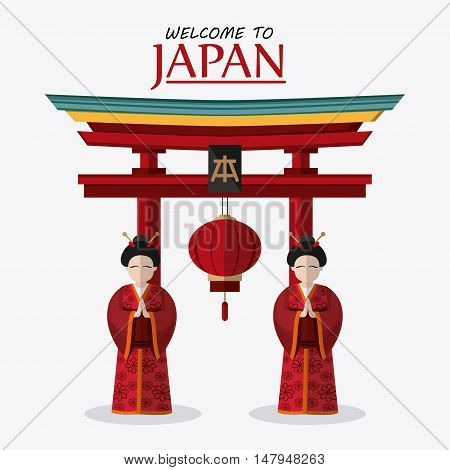 Woman arch and lamp icon. Japan culture landmark and asia theme. Colorful design. Vector illustration