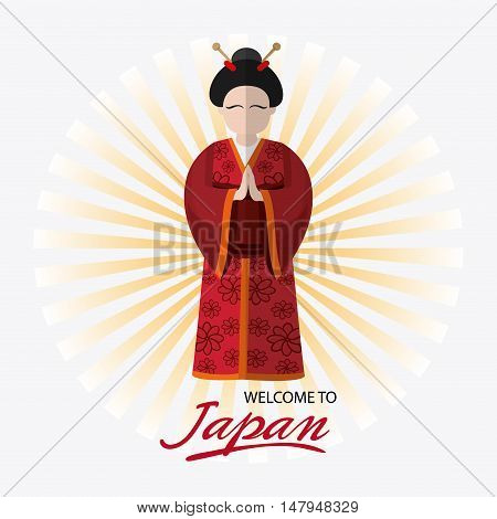 Woman and striped background. Japan culture landmark and asia theme. Colorful design. Vector illustration