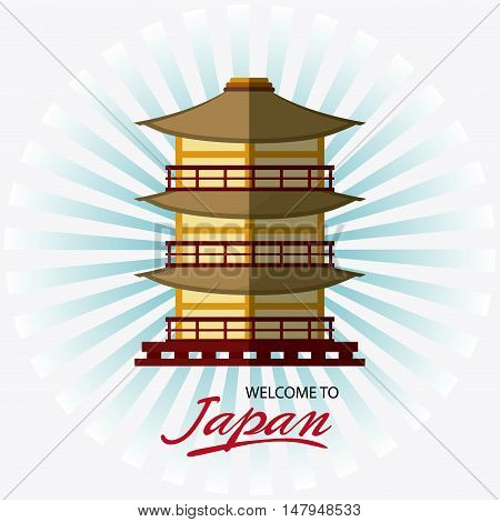 tower building icon. Japan culture landmark and asia theme. Colorful design. Striped background. Vector illustration