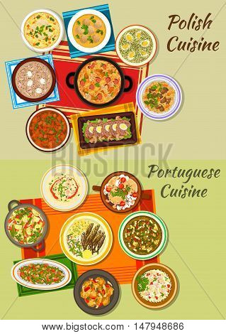 Polish and portuguese cuisine menu icon with meat and vegetable stews, cabbage and rye soups with sausage, dumpling, fried sardine, fish paella, meatloaf, vermicelli and sorrel soups, beef goulash