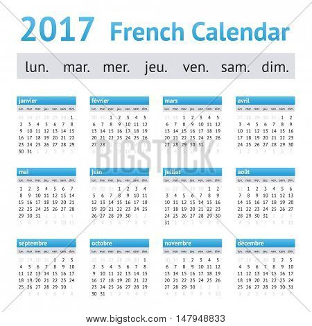 2017 French European Calendar. Week starts on Monday
