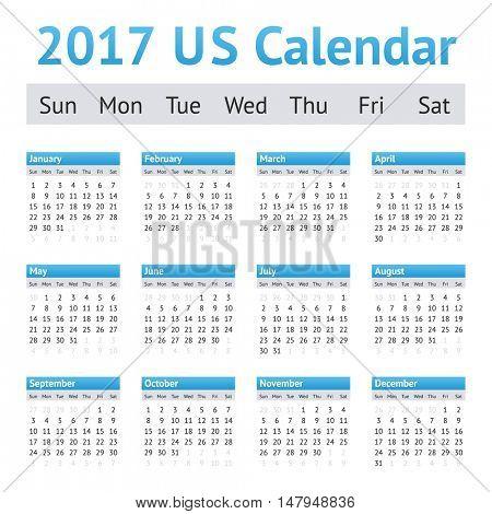 2017 US American English Calendar. Week starts on Sunday