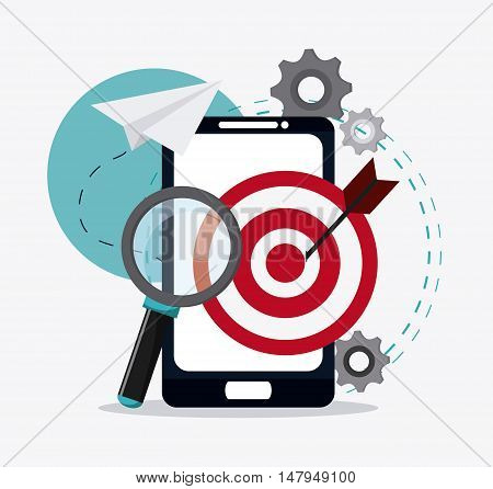 smartphone gears target and lupe icon. Business financial item and strategy theme. Colorful design. Vector illustration