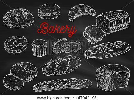 Bakery products chalk sketches on blackboard. Bread, cake, croissant, baguette, hamburger bun, toast, pie, braided bun, pretzel Bakery shop menu chalkboard design