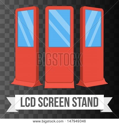 LCD Screen Floor Stand. Red Trade Show Booths with different angles. Vector illustration of kiosk machines on black transparent background. Ad template for your expo design with ribbon banner text.