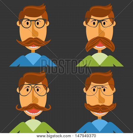 Hipster nerd with glasses and stylish mustache set on black. Web Banner Vector Flat Design. Hipster creative design template illustration