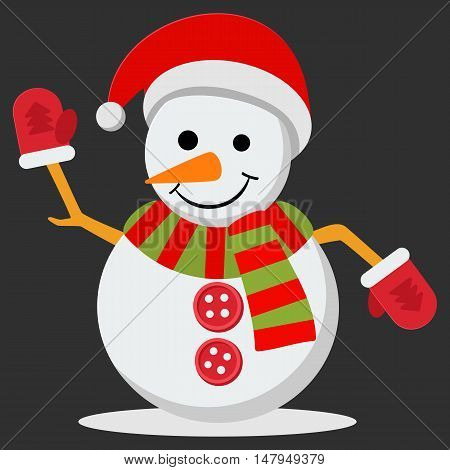 Snow Man in santa claus cap. Vector illustration on black background. Merry christmas concept with snowman in scarf gloves and hat.