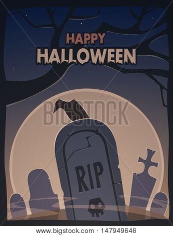The gravestone with raven and  moon in background, Halloween cartoon illustration.